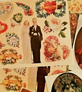 Reproduction Victorian Sticker Lot Seals Brier Rose Floral People Junk Journal