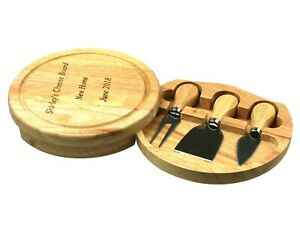 Free Engraving - Personalisable Wood Cheese board and Knife Gift Set 19CM across