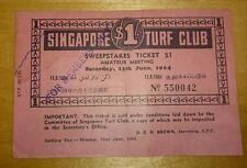 #4 Red Singapore $1 1964 Turf Club Sweep Ticket   新加坡赛马公会