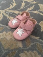 J.CREW CREWCUTS EASY PEASY EZ PZ SILVER STAR PINK BOOTIES Leather 22 23 5 6 Girl