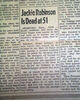 JACKIE ROBINSON DEATH Baseball Brooklyn Dodgers 1st Negro 1972 Old Newspaper