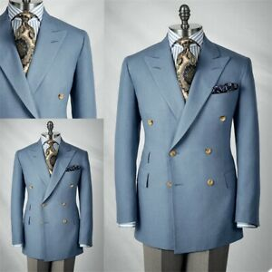 Business Double Breasted Men Suits Peak Lapel Tuxedos Formal Work Prom Blazer