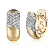 18K Gold Plated Cluster Cubic Zirconia Huggie Earrings For Fashion Women Jewelry
