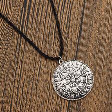 Unisexe Viking Amulet Runes Compass Pendant Necklace Silver Talisman Jewelry