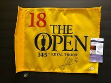 Henrik Stenson signed 2016 Royal Troon Open Championship Flag w/inscription JSA