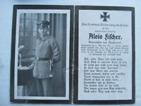 RARE WWI German Death Card, POW in Fighting Near Merville, Died 7/1918, FISHER