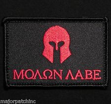 MOLON LABE SPARTAN ARMY TACTICAL MILITARY MORALE BADGE BLACK OP RED VELCRO PATCH