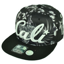 Cali California Hawaiian Floral Crown Black Flat Hat Cap Snapback Satin White
