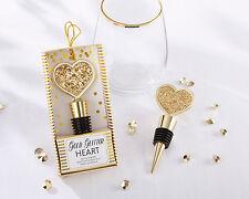 144 Gold Glitter Heart Bottle Stopper Bridal Shower Wedding Favors