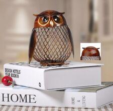 Metal Animal Owl Piggy Bank Saving Cash Money Coin Box Shaped Figurine Home Deco