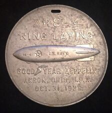 RARE AIRSHIP ZEPPELIN USS AKRON DURALUMIN RING LAYING MEDALLION LARGE
