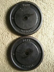 Vintage YORK BARBELL 20 lb Standard Weight Plates 2 Barbells Rare HARD TO FIND