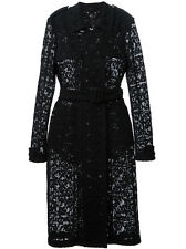 BURBERRY PRORSUM Black Cotton Floral Lace Trench Coat w/ Belt    IT 38  US 4