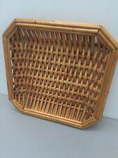 Vintage Rustic Wicker Rattan Shallow Basket Tray Dish Retro Storage Home Decor