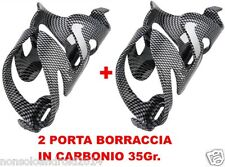 BICI CICLISMO PORTA BORRACCIA IN CARBONIO 2 pezzi 35gr MTB Cycling SADDLE BOTTLE