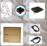 Extern USB 2.0 Laufwerk CD±RW DVD±RW Brenner CD + DVD RW Re-Writer SLIM Black