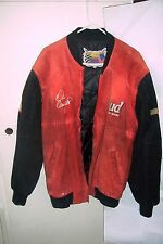 BUDWEISER red / black suede leather jacket nascar EARNHARDT JR 8 MEN sz XL LOOKC