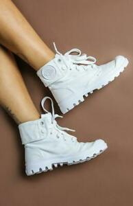 NIB Palladium Baggy Women's Lace-Up Ankle Boots in White/White