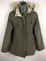 WOMENS BHS CASUAL ESSENTIALS KHAKI TAUPE ZIP UP DETACHABLE HOOD PADDED COAT UK12