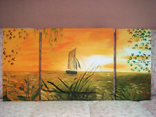 Hand Painted Oil Paintings - Framed - Picture Wall Hanging - 3 Panels - Sunset