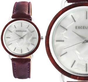 Damenuhr Quarz Armbanduhr Holz Perlmutt Silber Rotbraun Kunstleder 190/244