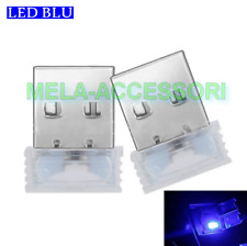 2 X USB LED auto macchina pc luce atmosfera di colore BLU luminoso