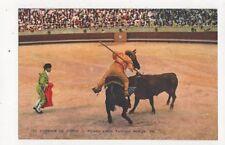 Corrida De Totos Picador y Toro Spain Vintage Postcard 466a