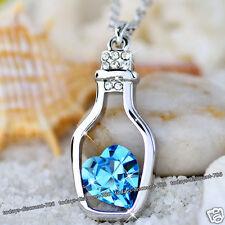 Azul Cristal Corazón Collar Amor Botella Regalo Para Ella Esposa Madre De Mujer