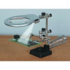 NEW Jumbo Helping Hands Magnifying Glass With LED Light Vise Clamps Hobby Too