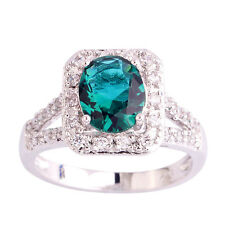 Gift Oval Green & White Topaz Jewelry Gemstone AAA Silver Ring Size 8 Free Ship