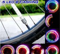 1, 2 or 4 LONG VALVE DUST CAP TYRE COLOUR LED NEON CAR BIKE WHEEL LIGHTS SAFETY