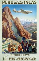 "Vintage Illustrated Travel Poster CANVAS PRINT Reru of the Incas 24""X16"""