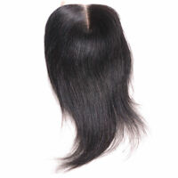 Human hair extension top lace closure 4x4'' straight midpart natural black