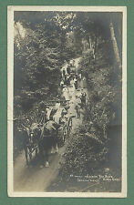 C1910'S RP PC COACHES DESCENDING RED BANK GRASMERE PEOPLE WALKING BEHIND WAGONS
