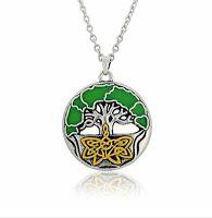 Tree of Life 3D Enamel Pendant Celtic Knot Necklace
