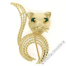 14K Yellow Gold Round Cabochon Green Onyx Detailed Twisted Wire Cat Brooch Pin