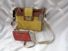 Tignanello Utility Khaki Cotton Leather Crossbody Organizer Bag w Zip Coin EUC