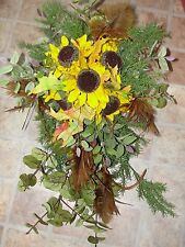 Indian Summer Rustic Sunflowers Wedding Flowers Bride Bouquet Altar Cascading