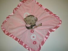 NWT Carters Girls Pink Flowers Monkey Rattle Security Blanket Plush Baby Toy
