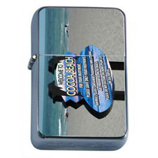Florida Hot Spots Cocoa Beach D9 Flip Top Oil Lighter Wind Resistant With Case