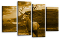 Scottish Highland Wall Art Brown Sepia Stag Animal Canvas Picture Print