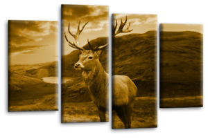 Highland Stag Wall Art Deer Scottish Sepia Brown Cream Canvas Picture Print44x27