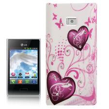 Hardcase Strass für LG E400 Optimus L3 Herzen pink weiß Etui Hülle Cover Case