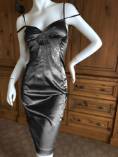Dolce & Gabbana dress D&G black satin sheer lace insert bustier sexy UK8EU34US4