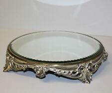 Antique Decorative Silver Plated Plateau Mirror Scrollilng Floral Base
