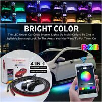 APP Sound Control LED Strip Under Car Tube Underglow Underbody Neon Lights Kit
