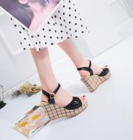 NEW Women Ankle Strap Sandals Summer Wedge Peep Toe Platform Buckle High Heels