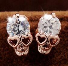 1Pair Unisex Women Crystal Heart Skull Stud Earrings Punk Vintage Gift Jewellery