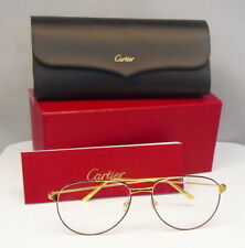 Authentic Cartier CT0039O 004 Gold Metal Frame Pilot Glasses w/ Box & Case