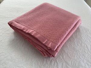 Vintage Pink Cotton Backed Acrylic Fleece Blanket 230 cm x 185 cm Double Warm